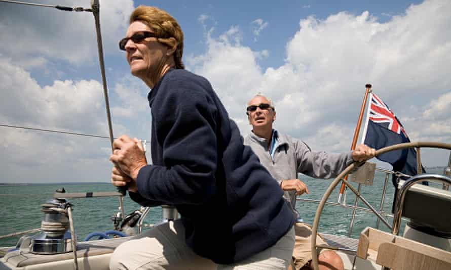 UK pensions mature couple sailing yacht