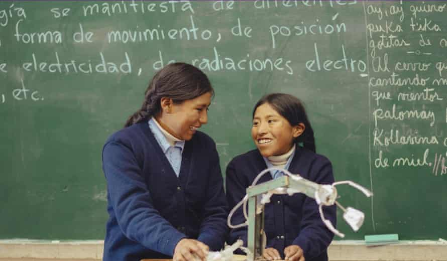 Erika and Esmeralda from Bolivia. They built a mechanical arm from salvaged materials.