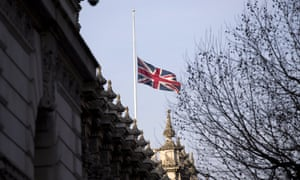 The union flag at half mast over a government building in Westminster on 23 January after the death of King Abdullah of Saudi Arabia.