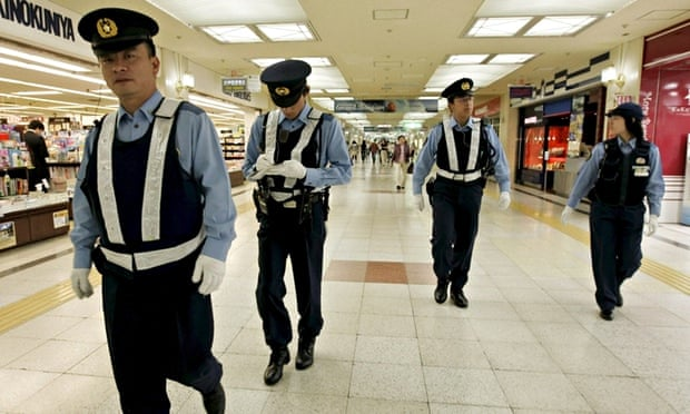 Japanese police  in Sapporo city, Hokkaido
