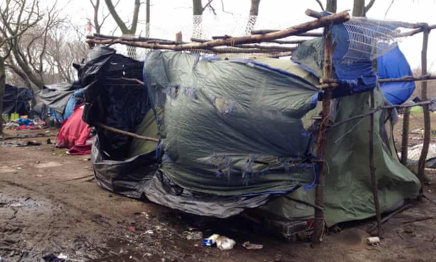 A tent at the Calais refugee camp