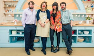 David Mitchell, Sarah Brown, Jameela Jamil and Michael Sheen in the The Great Comic Relief Bake Off, 2015.