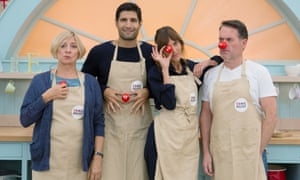 Victoria Wood, Kayvan Novak and Alexa Chung in The Great Comic Relief Bake Off, 2015.