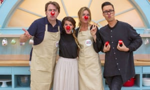 Jonathan Ross, Zoe Sugg (Zoella), Abbey Clancy and Gok Wan in The Great Comic Relief Bake Off 2015.
