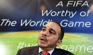 Prince Ali of Jordan, one of three challengers to Sepp Blatter for the Fifa presidency, at a press conference in London. Photograph: Jamal Nasrallah/EPA