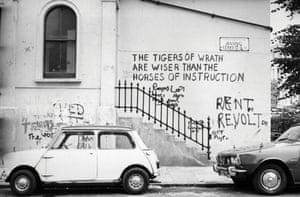 Graffiti on Basing Street in Notting Hill Gate, west London, around 1974.