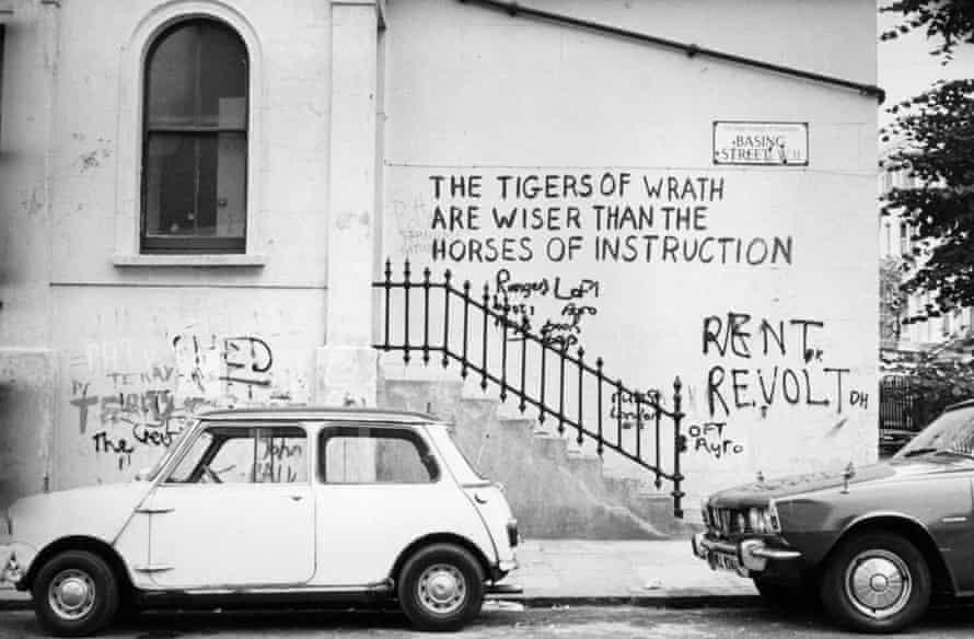Graffiti on Basing Street in Notting Hill Gate, west London, around 1974.