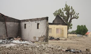 A burned classroom at the secondary school in Chibok from which 276 schoolgirls were abducted.