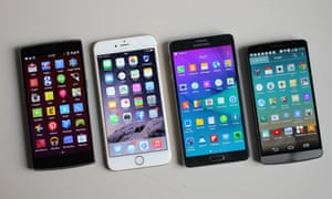 four smartphones, displaying apps