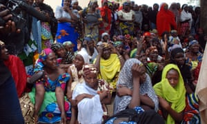 Mothers of the missing Chibok schoolgirls waiting for official information on 5 May 2014.