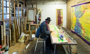 Artist Frank Bowling in his studio in South London.