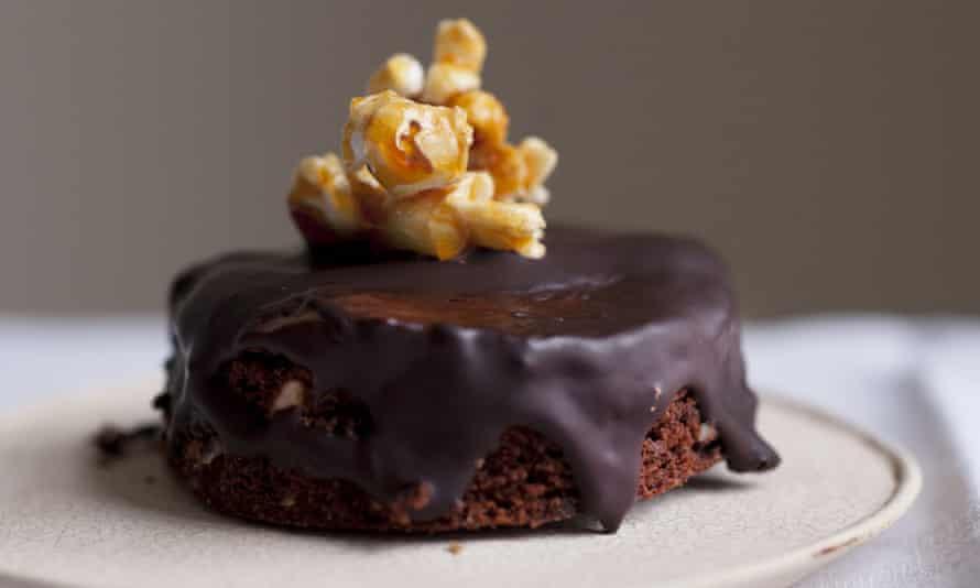 Nigel Slater's chocolate hazelnut cake topped with popcorn