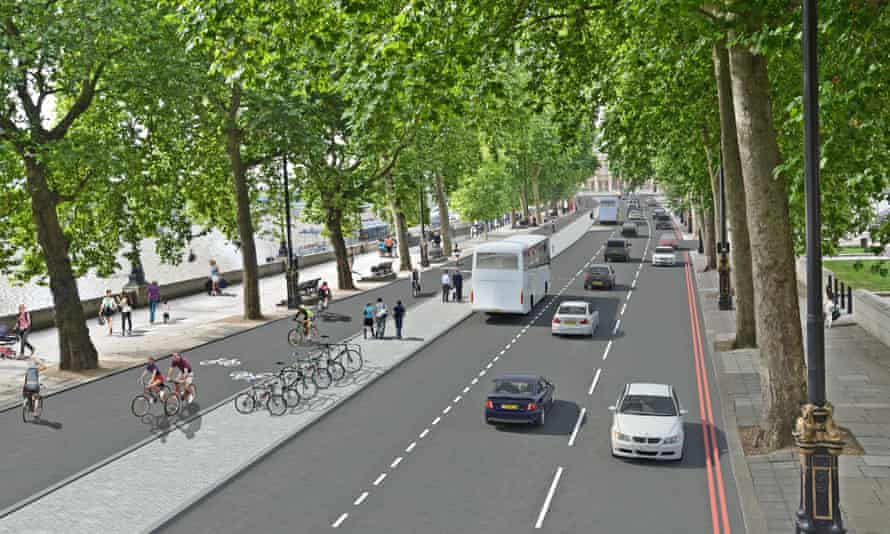 Mock up of London cycle lanes
