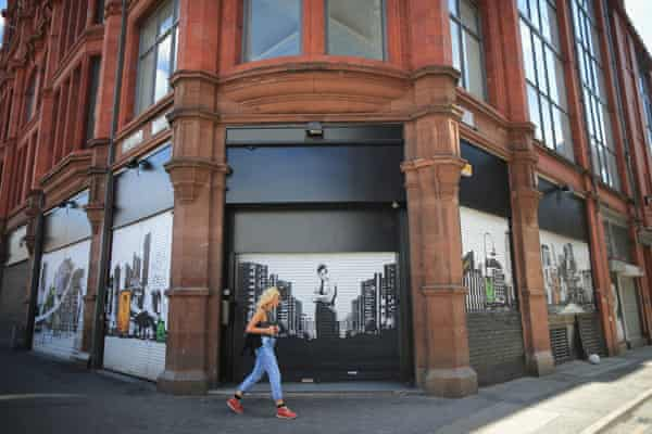 Shop shutters in Manchester's northern quarter.