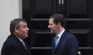 George Osborne bids farewell to New Jersey Governor Chris Christie, after lunch at number 11 Downing Street