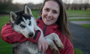 Erica with one of the huskies.