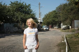 Natalia Onipko, president of Zaporuka, outside her office in Kiev.
