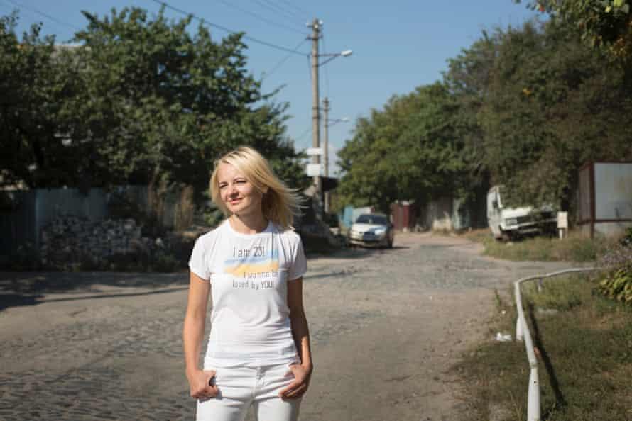 Natalia Onipko, president of Zaporuka, outside her office in Kiev.