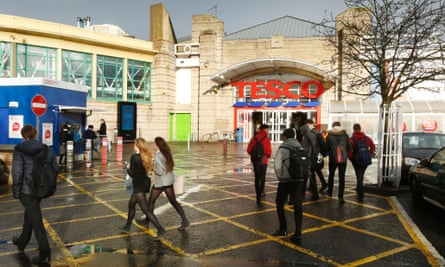 Leith Central Station building: a Tesco superstore sprawls where the platforms once stood.