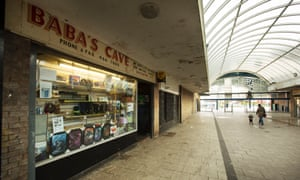Baba's Cave: one of the few businesses not boarded up in Muirhouse shopping centre.