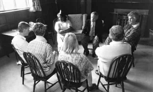 Counselling session at Farm Place drug rehabilitation centre near Dorking in 1986.