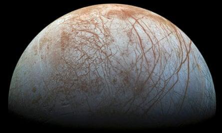 A hemisphere of Jupiter's icy moon Europa.