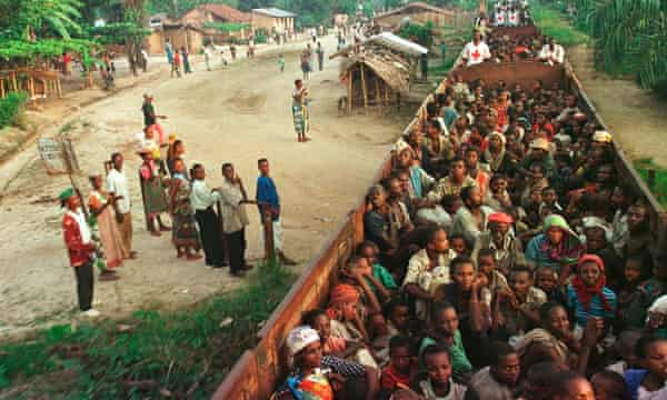 Rwandan refugees during an evacuation in 1997.