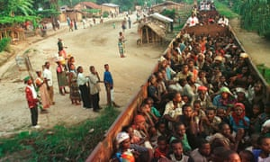Rwandan refugees during an evacuation in 1997.