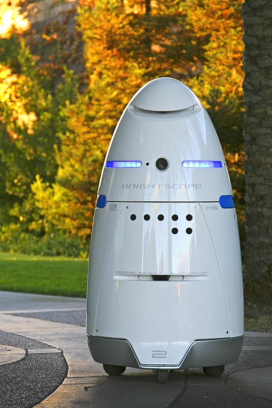 The Knightscope K5 is a mobile robotic security guard, equipped to patrol and monitor an area with mobile sensors, GPS and laser scanning built-in.