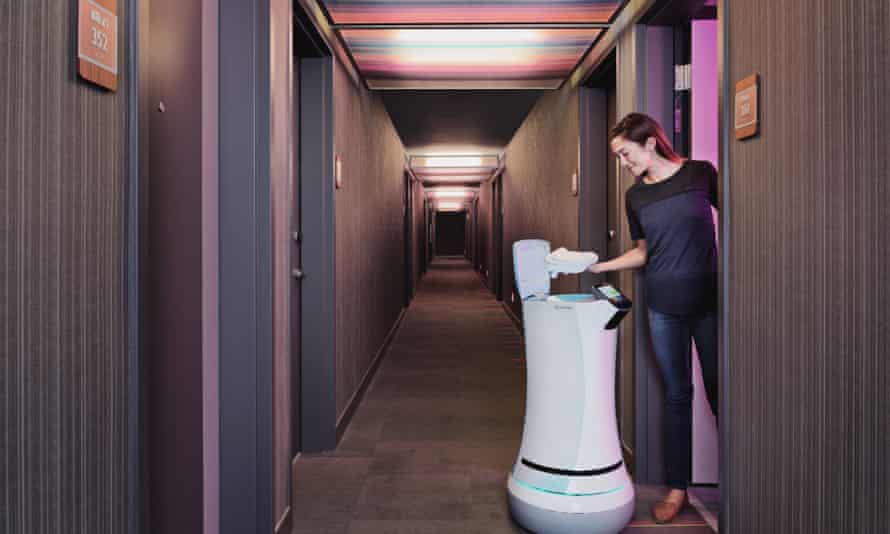 SaviOne is a robot butler that can take towels and food to guest rooms.