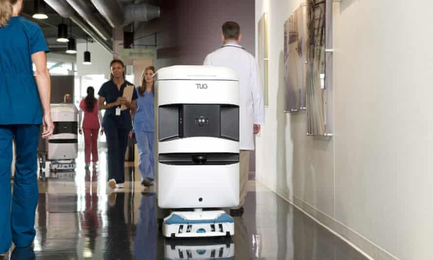 Aethon's TUG robot performs transportation tasks in hospitals.