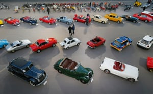 Vintage and classic cars are displayed ahead of the Bonhams' Les Grandes Marques du Monde vintage motor cars and motorcycles auction at the Grand Palais exhibition hall as part of the Retromobile vintage car show