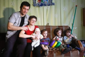 Vyazma, Ukraine Russian activist Svetlana Davydova, with her husband Anatoly Gorlov and children pose for a picture after being released and returning home. Davydova, who is bringing up seven children with her husband, will have her movements restricted and still faces up to 20 years in jail if convicted in a trial