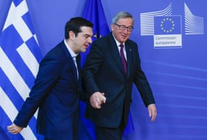 Brussels, Belgium European Commission President Jean Claude Juncker welcomes Greek Prime Minister Alexis Tsipras prior to a meeting at the EU Commission headquarters