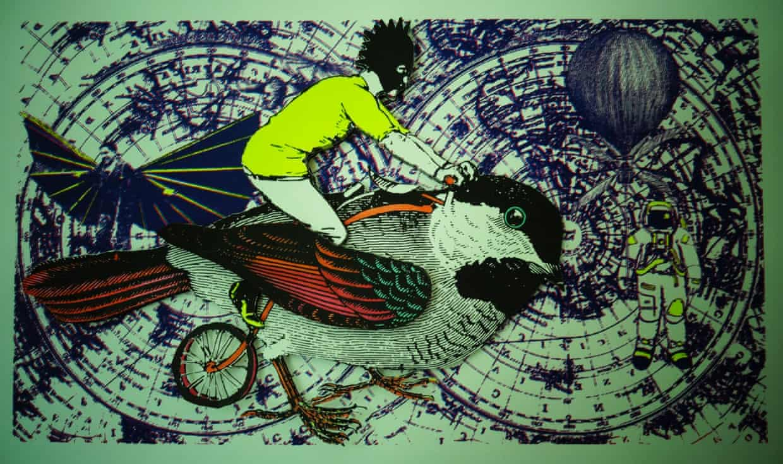 A man riding an enormous bird