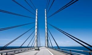 The Oresund Bridge between Malmo and Copenhagen.
