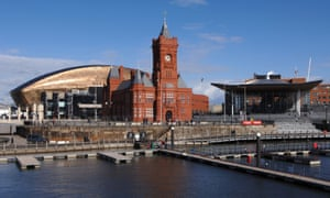 Cardiff's Wales Millennium Centre, the Pierhead building, and the Welsh Assembly (Senedd).