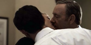 Frank Underwood and his wife, Claire, seduce their unworldly bodyguard, Meacham.