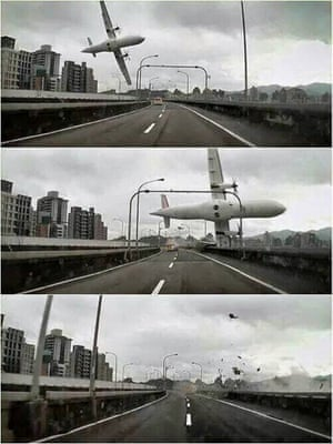 Sequence taken by a car dashcam showing the airplane crashing over the bridge in Taipei.