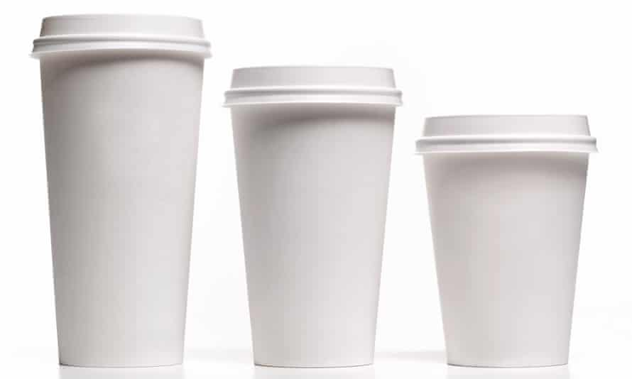 Small, medium and large disposable coffee cups