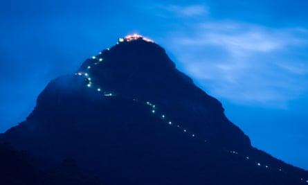 The Illuminated trail up Adam's Peak.