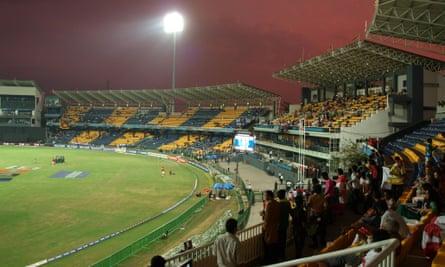 The Premadasa Stadium in Colombo, Sri Lanka during a world cup cricket match