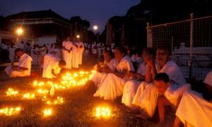 A Poya festivity, Maha Bodi Temple, Anuradhapura, North Central Province, Sri Lanka.