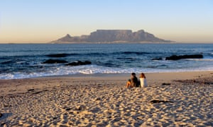 The view across Table Bay from Bloubergstrand, Cape Town, South Africa