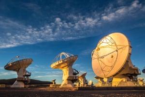 Eyes to the skies … antennas form part of the Atacama Large Millimeter Array (Alma), in the Atacama desert.