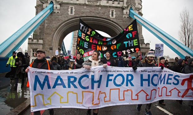 Campaigners march on City Hall to demand solution to housing crisis