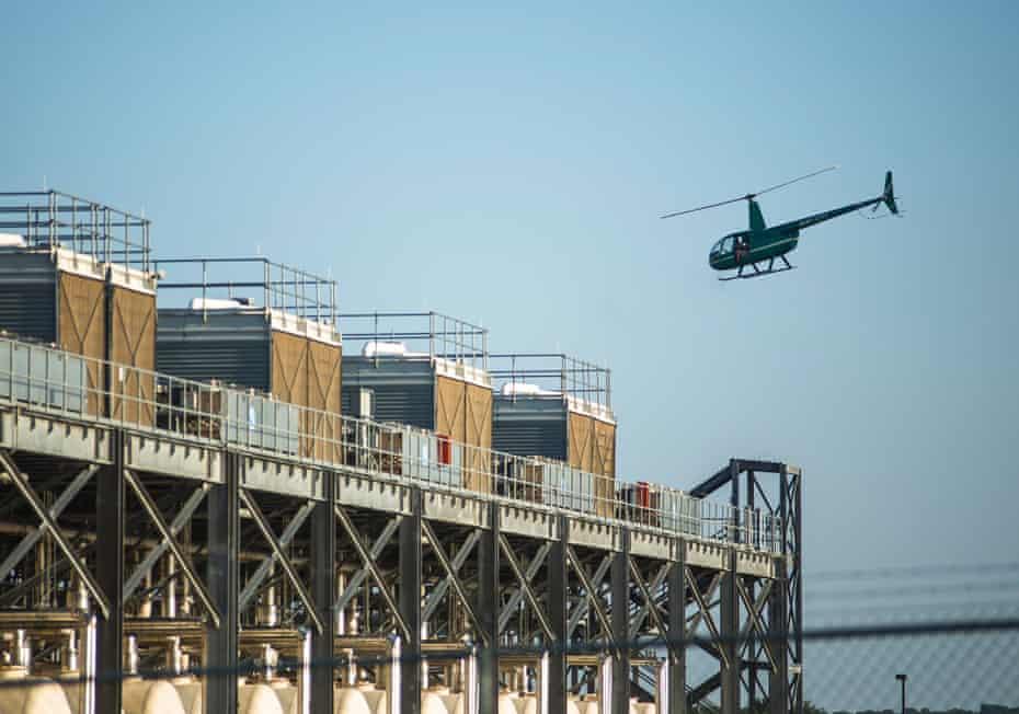 Artist John Gerrard surveys Google Inc's data centre at Pryor Creek, Oklahoma, from a helicopter.