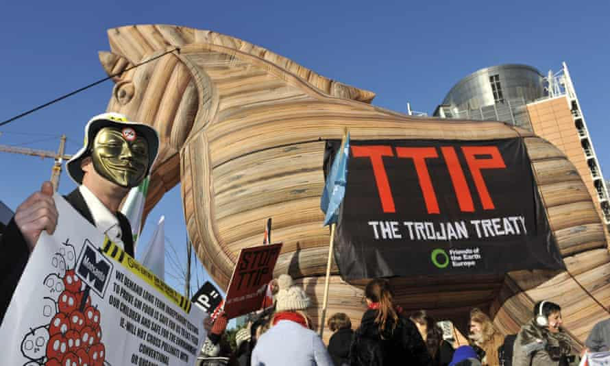 A protest against TTIP in Brussells where European and US negotiators are engaged in the latest round of talks over transatlantic trade.