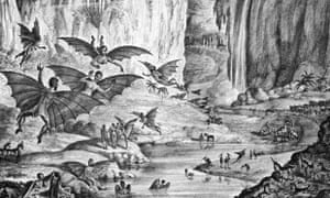 Print depicting imagined scene of creatures on the moon