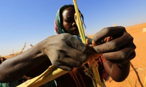 El Fasher, North Darfur A woman builds a shelter. Thousands have fled areas in east Jebel Marra and north of Tawilla due to clashes between government forces and armed opposition groups.